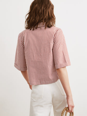 Lucia Striped Cotton Short Sleeve Striped Shirt by KITRI Studio