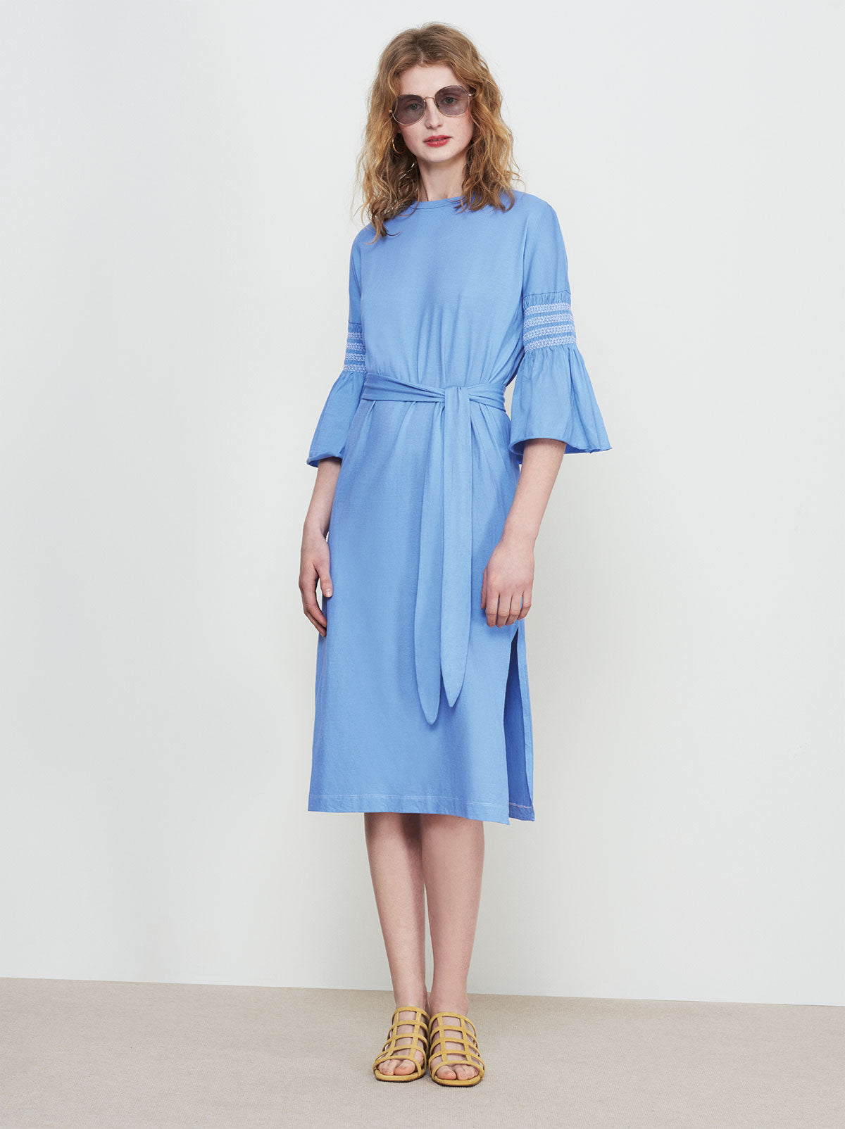 Imogen Blue Smocked Sleeve Dress by KITRI Studio