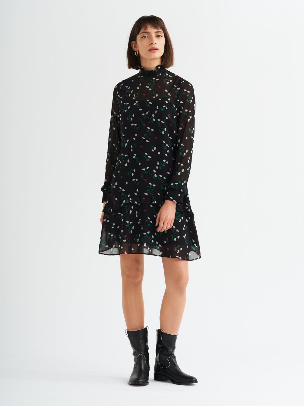 Luna Frilled Floral Print Peplum Tunic Dress by KITRI Studio