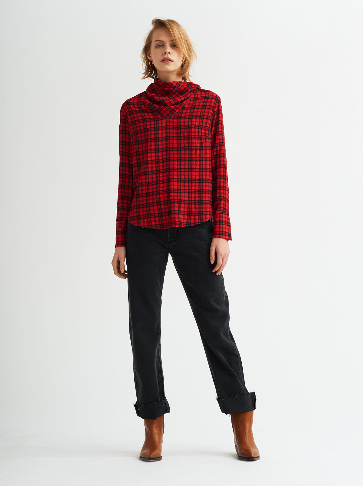 Marcia Red Check Bandana Top by KITRI Studio