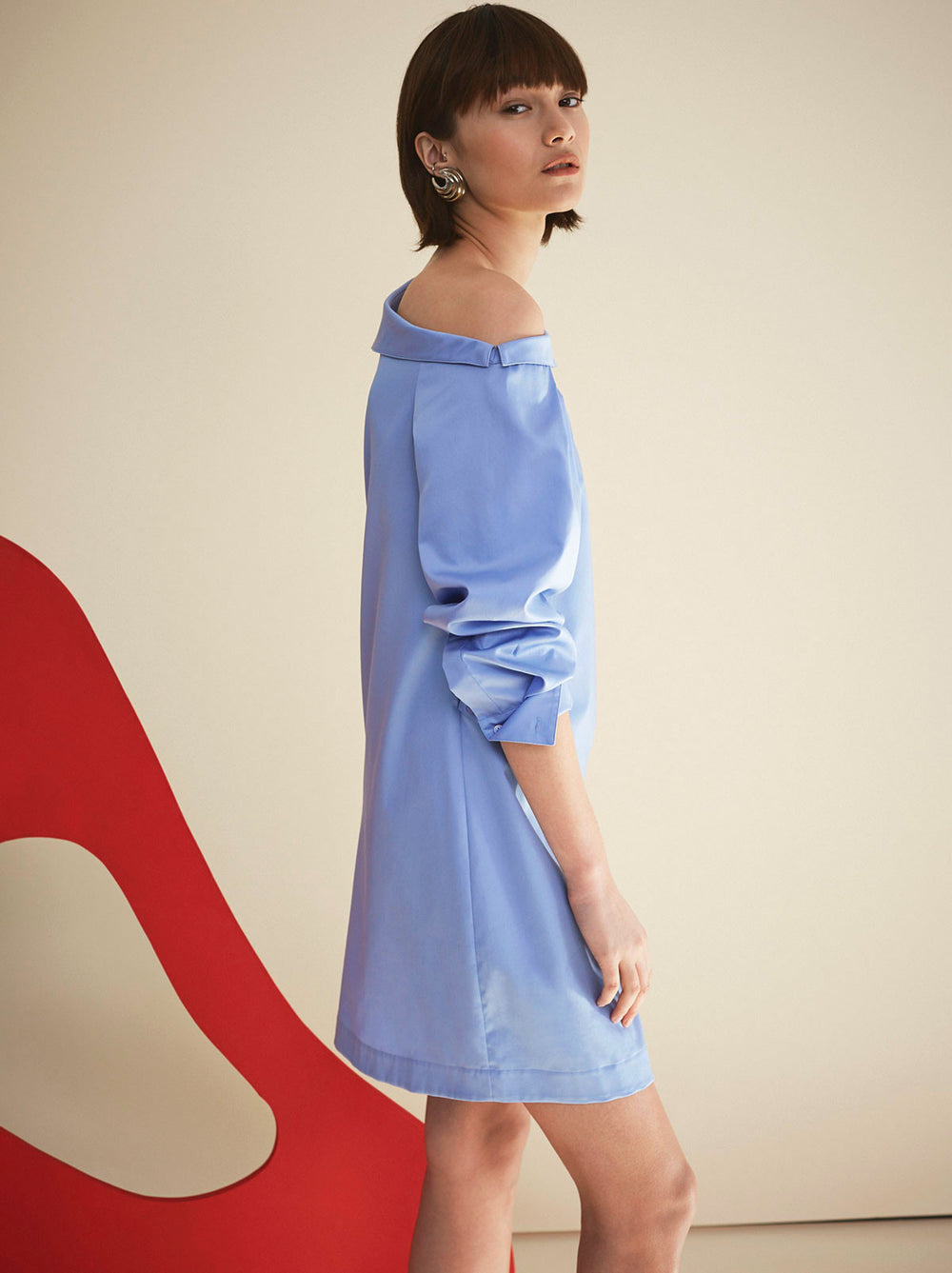 Nina Off Shoulder Blue Cotton Shirt Dress by KITRI Studio