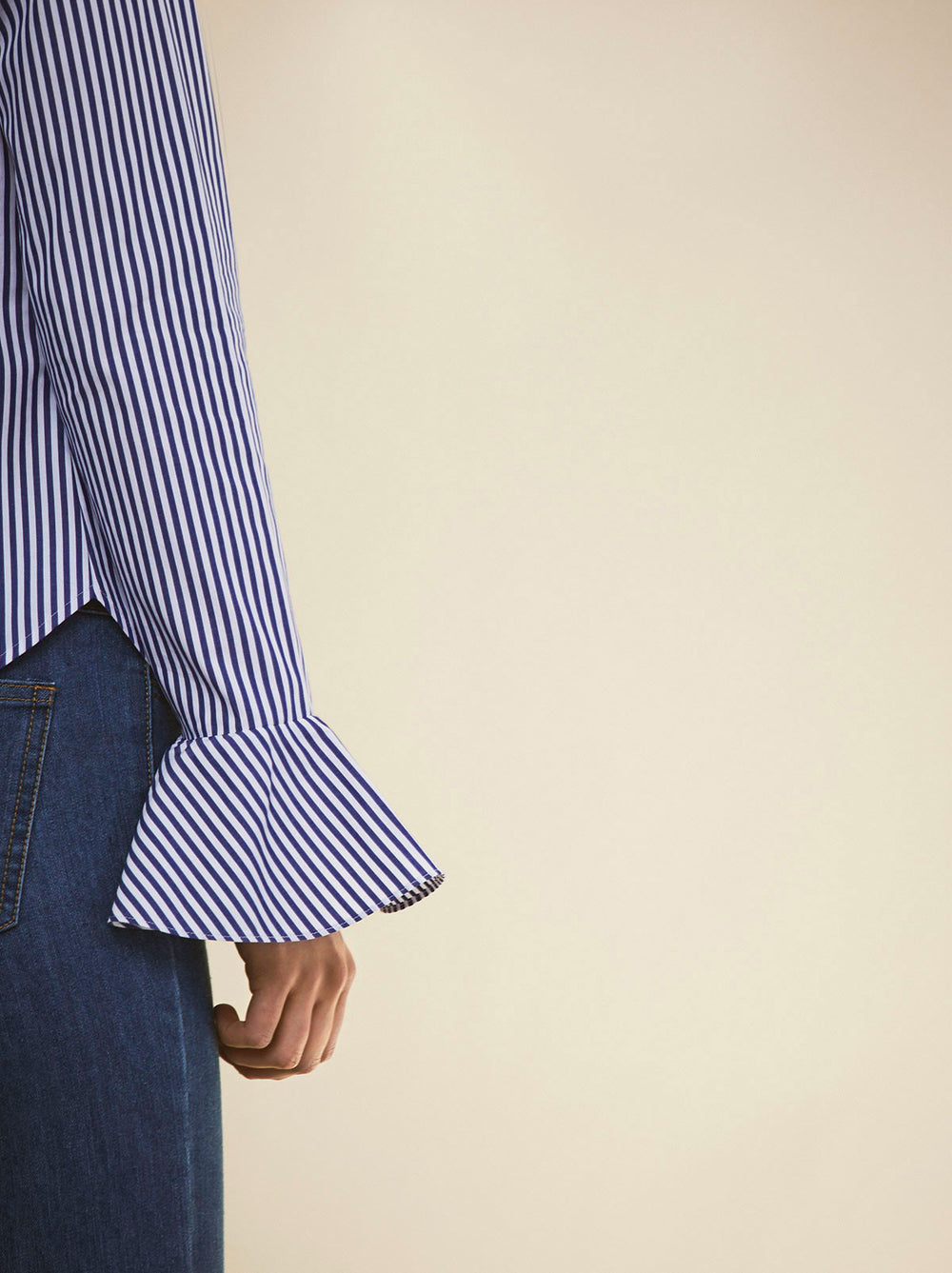 Odette Pinstripe Cotton Shirt With Statement Petal Sleeves by KITRI studio
