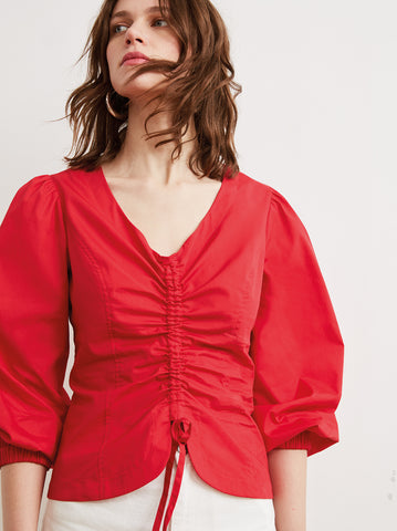 Riley Red Ruched Cotton Statement Sleeve Shirt by KITRI Studio