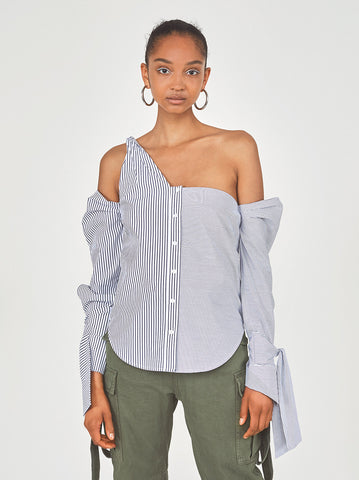 Roberta Striped Knot Cotton Shirt by KITRI Studio