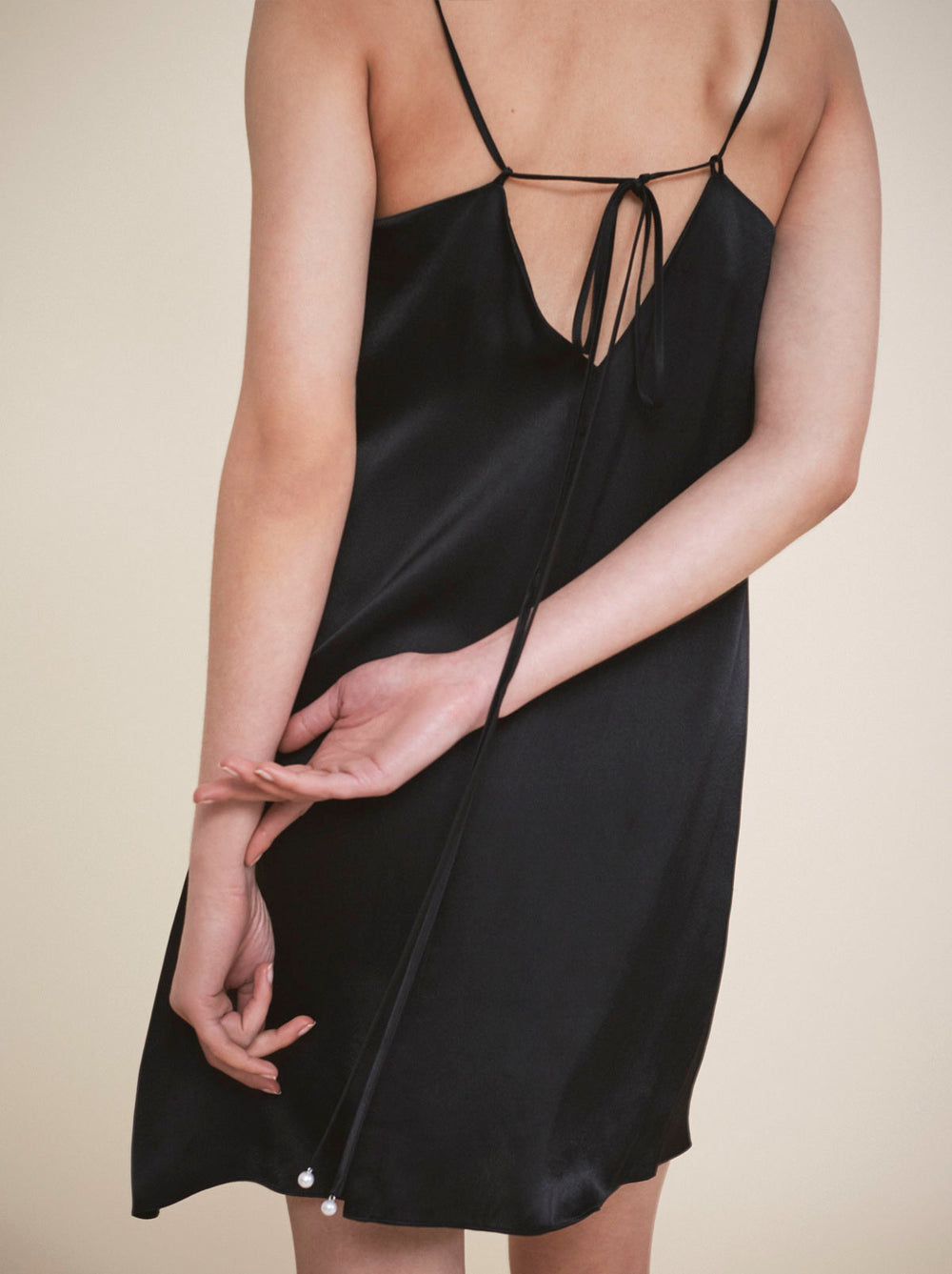 Black 90's cami slip dress by KITRI studio