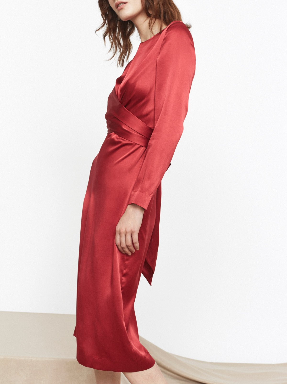 Simone Red Silk Tie Waist Dress
