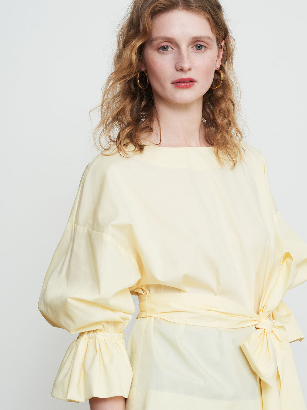 Tessa Yellow Bubble Oversized Sleeve Shirt by KITRI Studio
