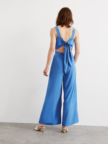 Valentina Blue Silk Tie Back Jumpsuit by KITRI Studio