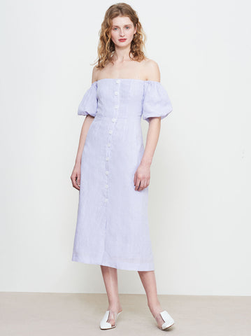 Violette Lilac Linen Bardot Dress by KITRI Studio