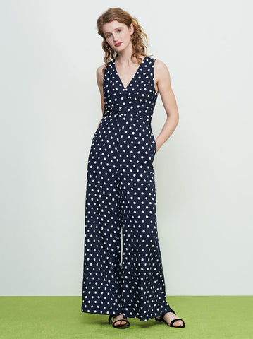 Wayne Navy Polka Dot Jumpsuit by KITRI Studio