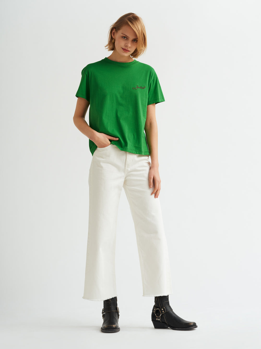 Yeehaw Printed Green Cotton T-shirt by KITRI Studio