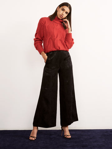 Katherina Black Wide Leg Pyjama Trousers by KITRI Studio
