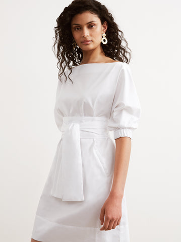 Apollo White Cotton Tie Waist Dress by KITRI Studio