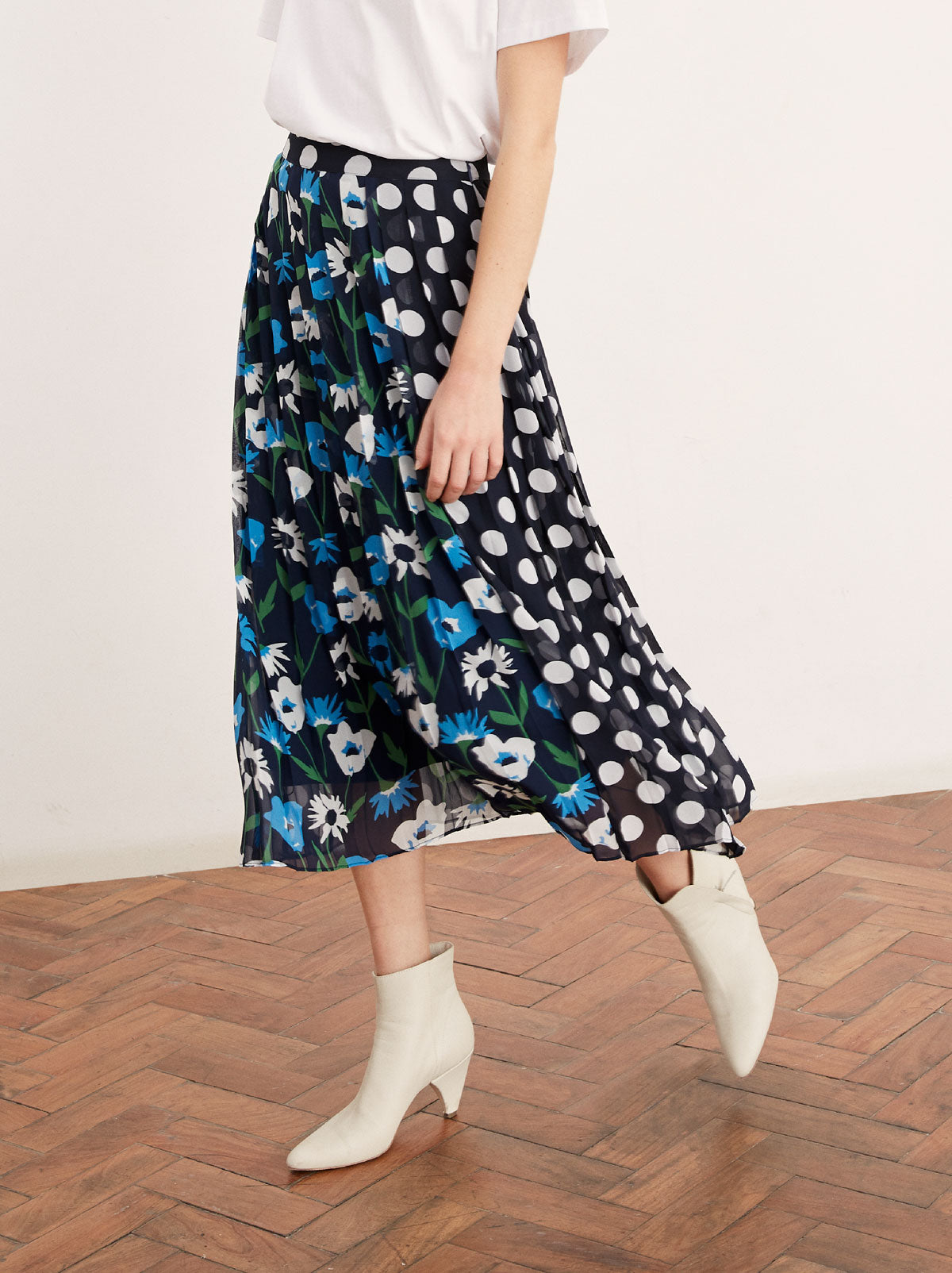 Lavinia Spot Print Pleated Midi Skirt by KITRI Studio