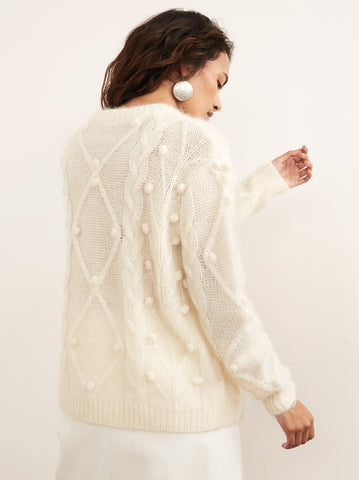 Leith White Mohair Cable Jumper by KITRI Studio
