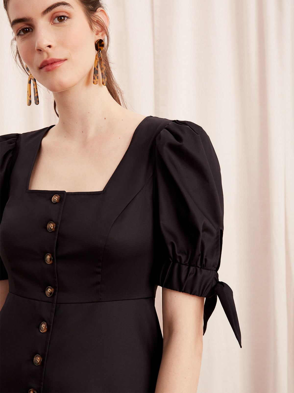Lenora Black Cotton Tie Sleeve Midi Dress by KITRI Studio