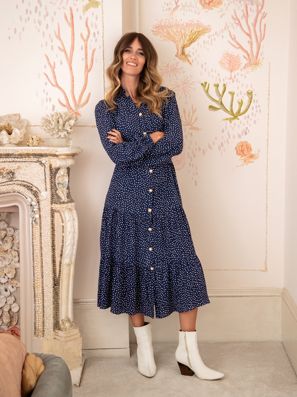 Lori Navy Polka Dot Shirt Dress