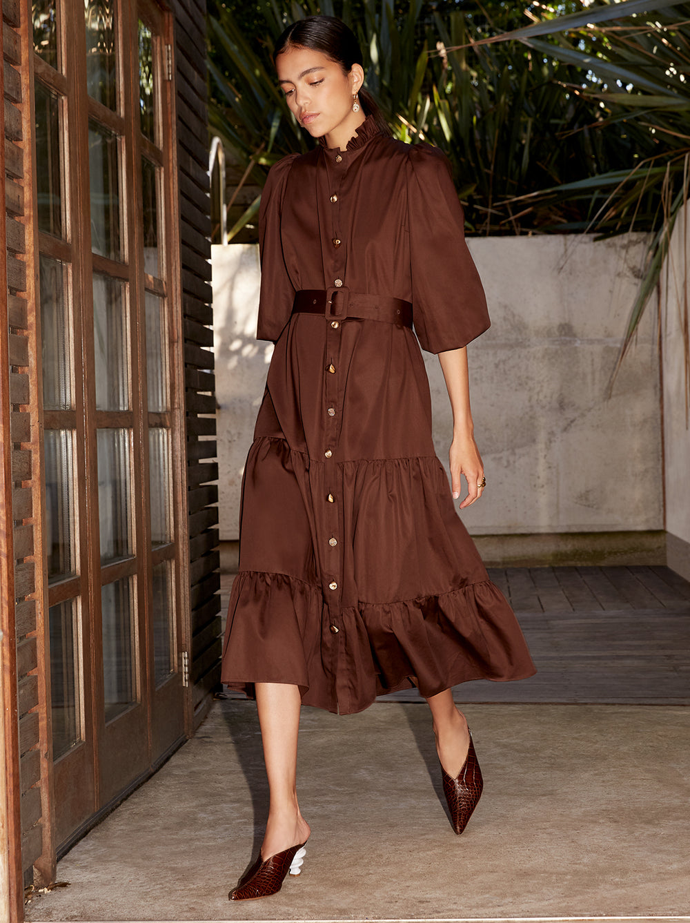 Lori Brown Midi Shirt Dress by KITRI Studio