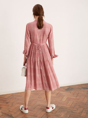 Lotta Red Check Shirt Dress by KITRI Studio