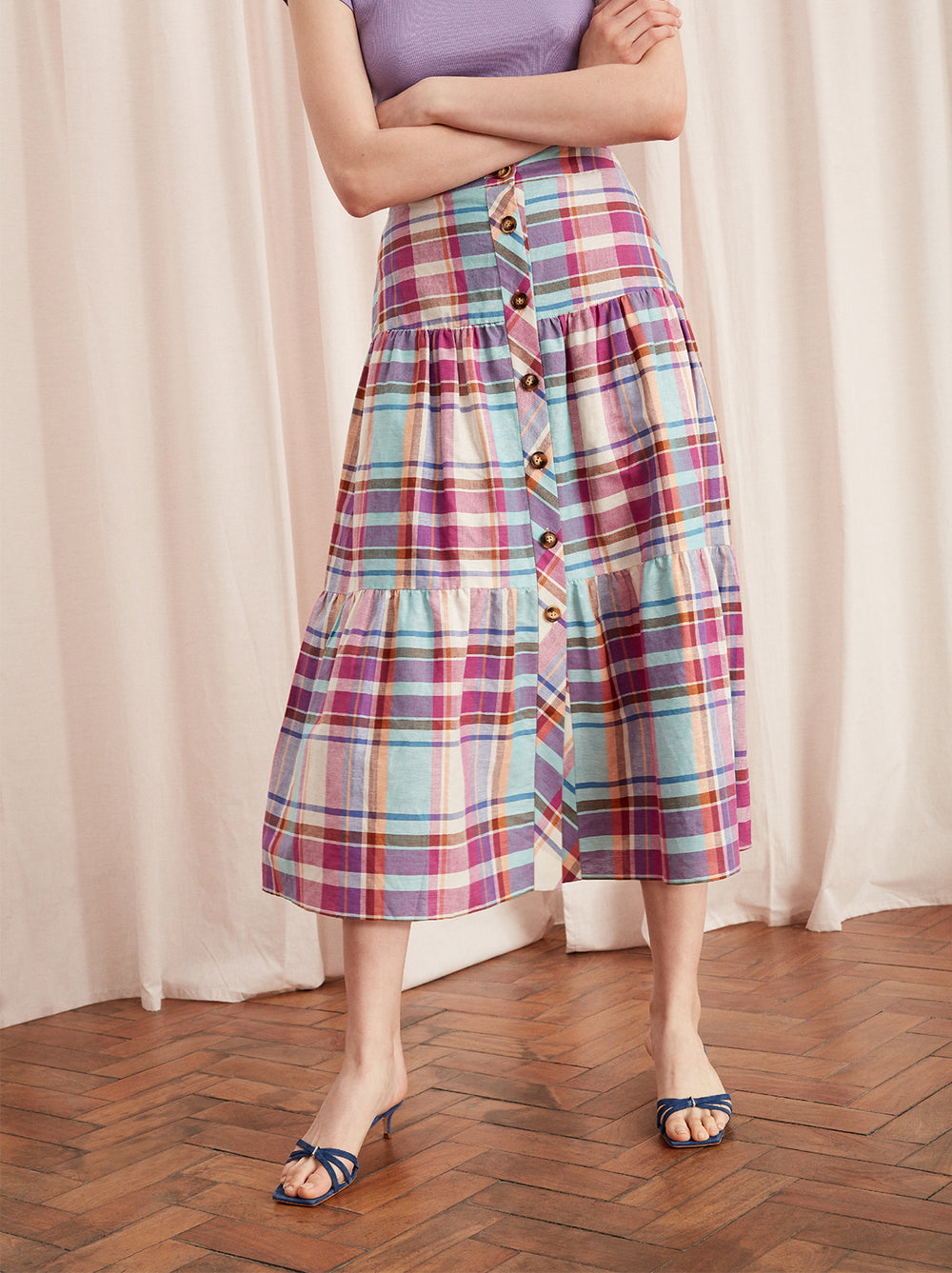 Lupeta Pink Linen Check Midi Skirt by KITRI Studio