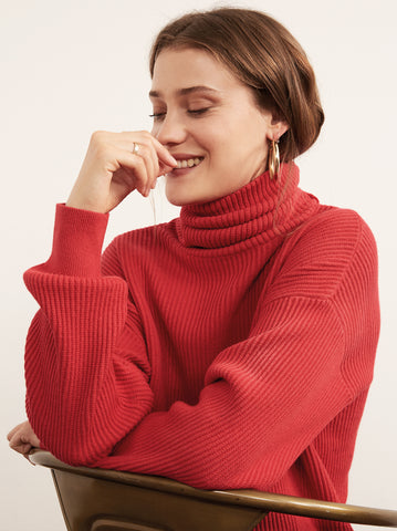 Mabel Red Cotton Cashmere Roll Neck Jumper by KITRI Studio
