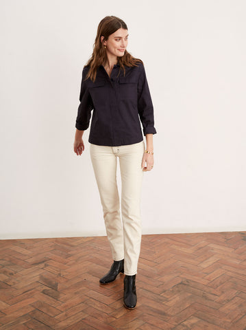 Maddison Navy Cotton Shirt Jacket by KITRI Studio