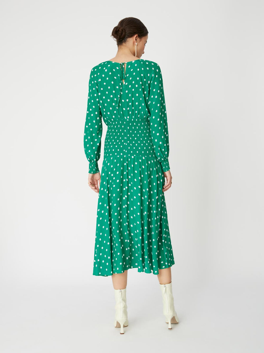 Marianella Green Polka Dot Smocked Dress