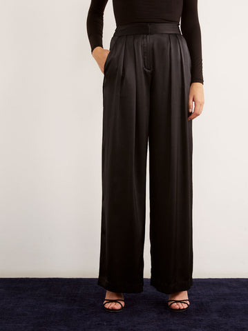 Marina Black Silk Wide Leg Trousers by KITRI Studio