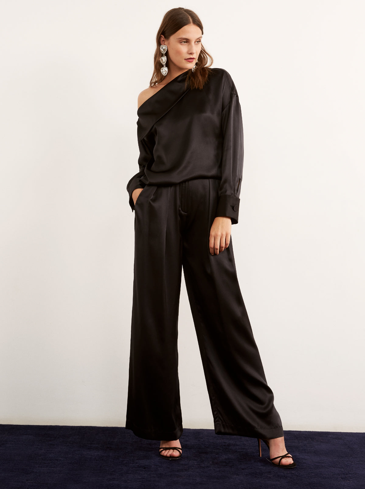 Marina Silk Wide Leg Trousers