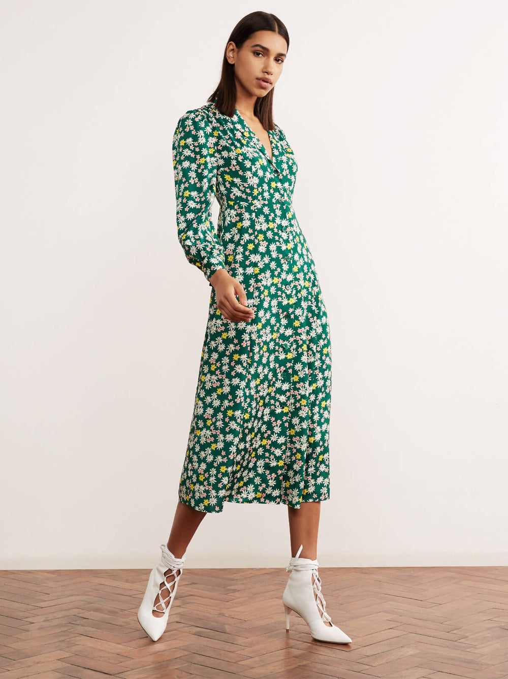 Maude Floral Print Long Sleeve Midi Tea Dress by KITRI Studio