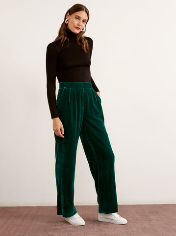 Meghan Green Wide Leg Velvet Trousers by KITRI Studio