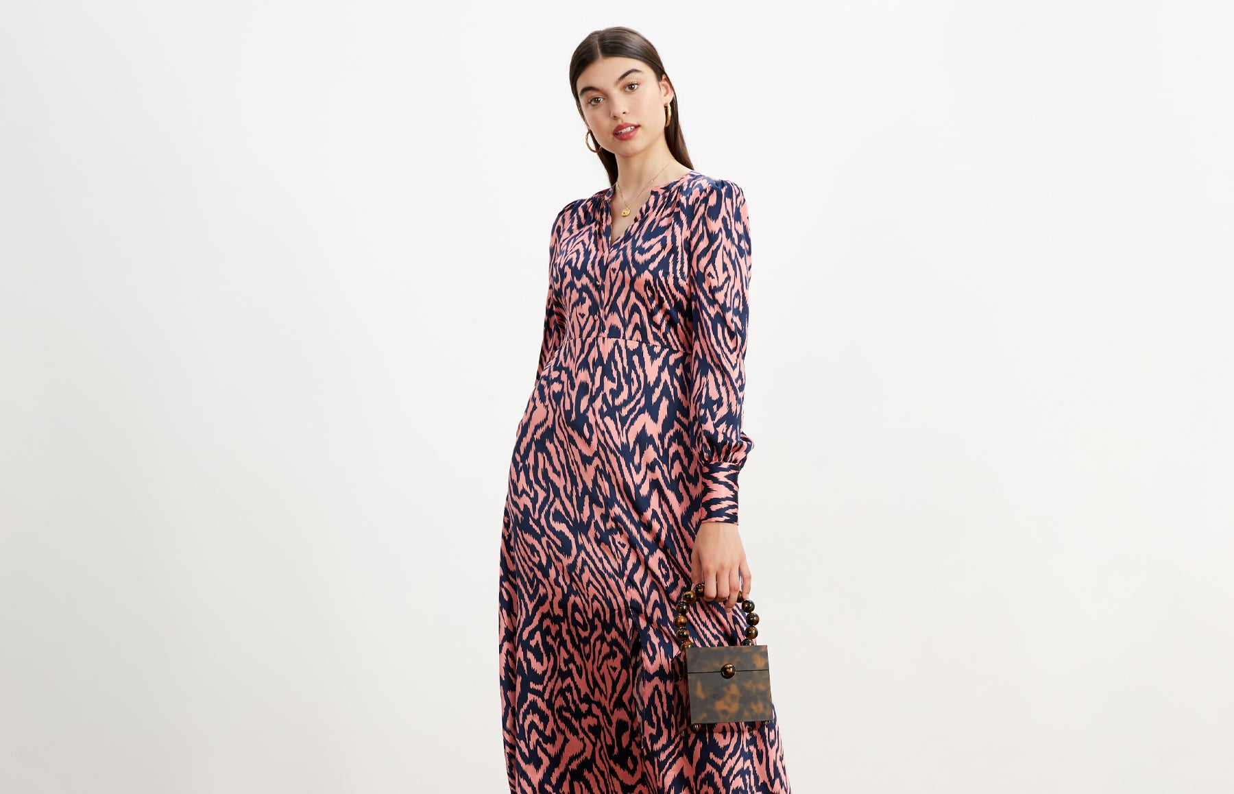 Mindy Animal Print Silk Midi Dress by KITRI Studio