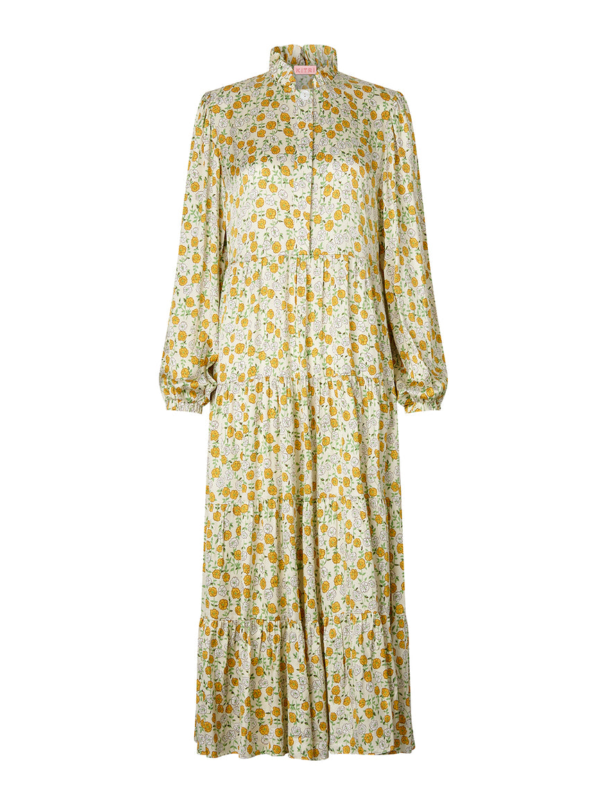 Natalia Cream Peony Print Maxi Dress