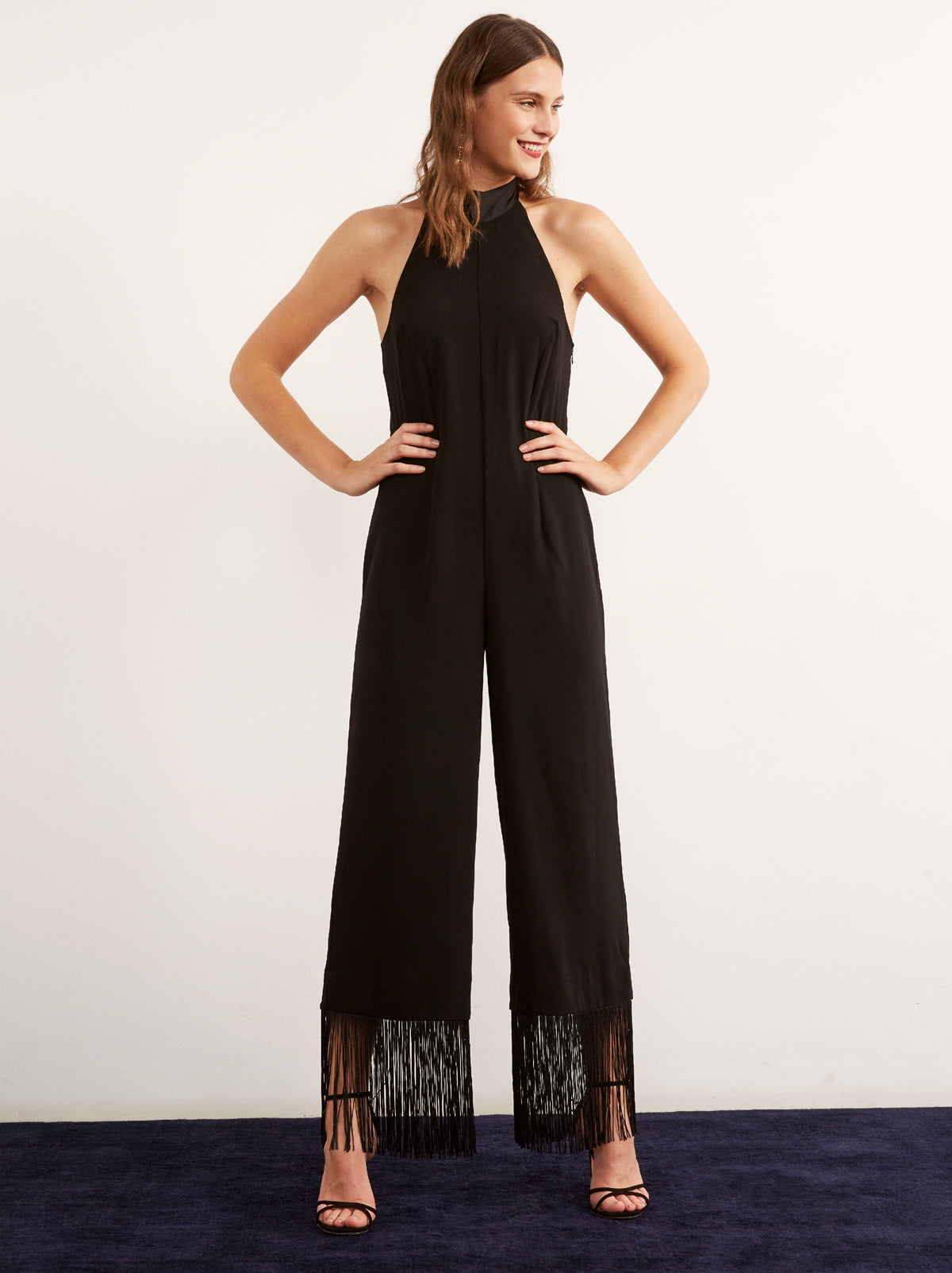 Nijinsky Black Wide Leg Tassel Jumpsuit by KITRI Studio