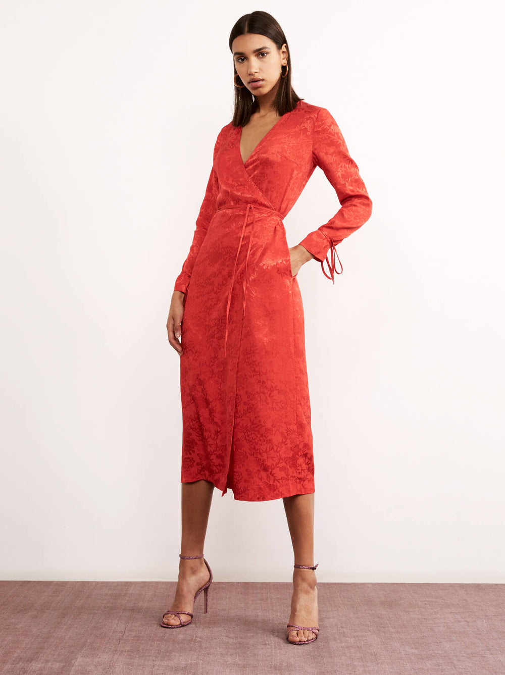 Odile Red Floral Print Wrap Dress by KITRI Studio