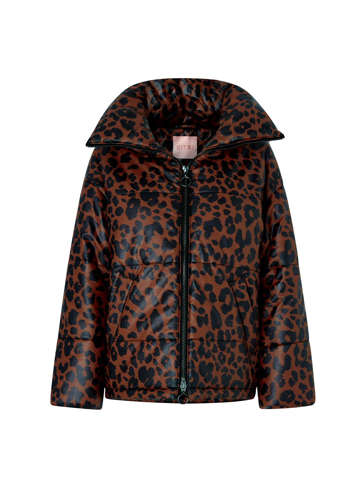 Paloma Leopard Print Faux Leather Puffer Coat by KITRI Studio