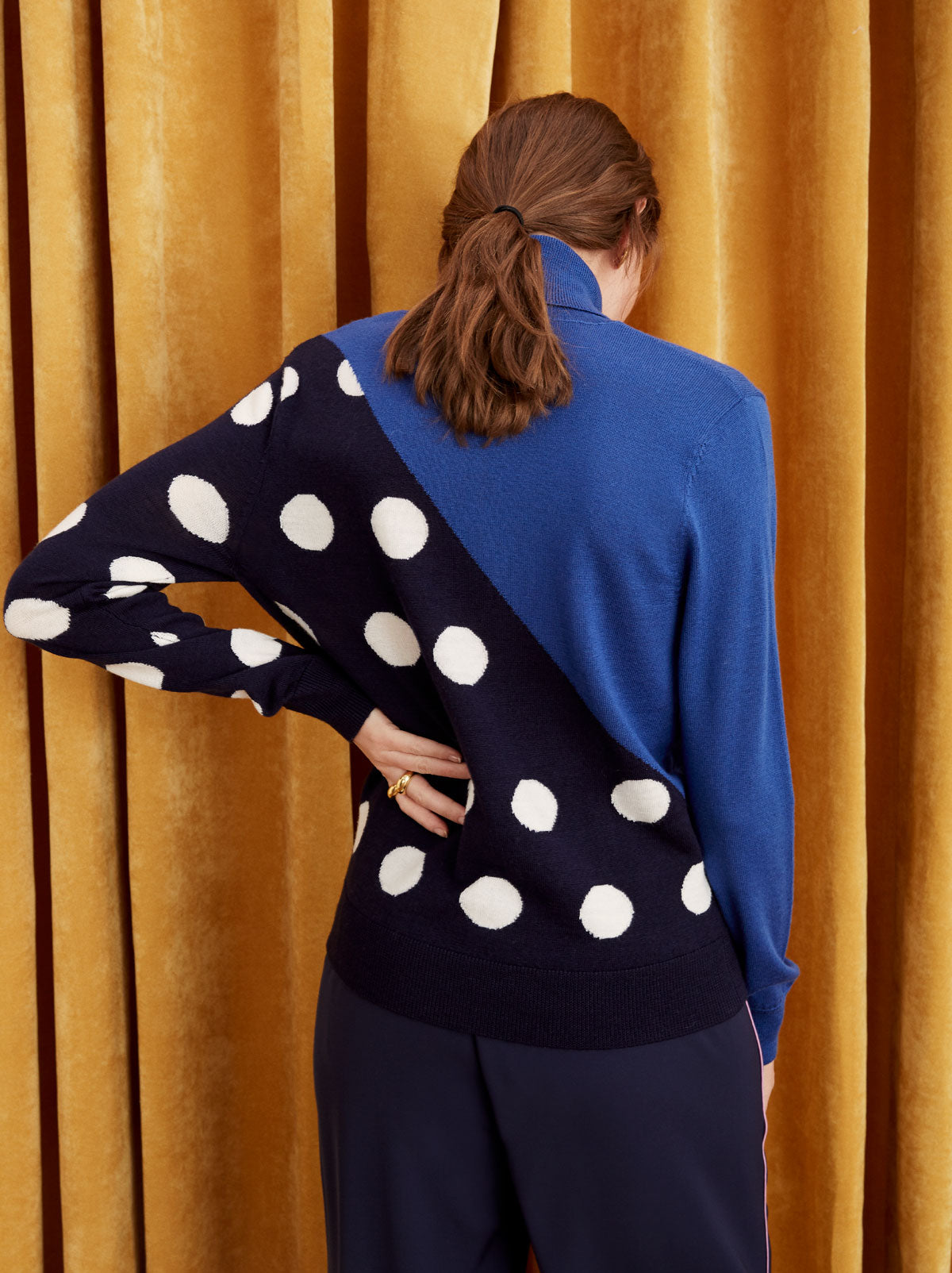 Phoebe Polka Dot Merino Roll Neck Jumper by KITRI Studio