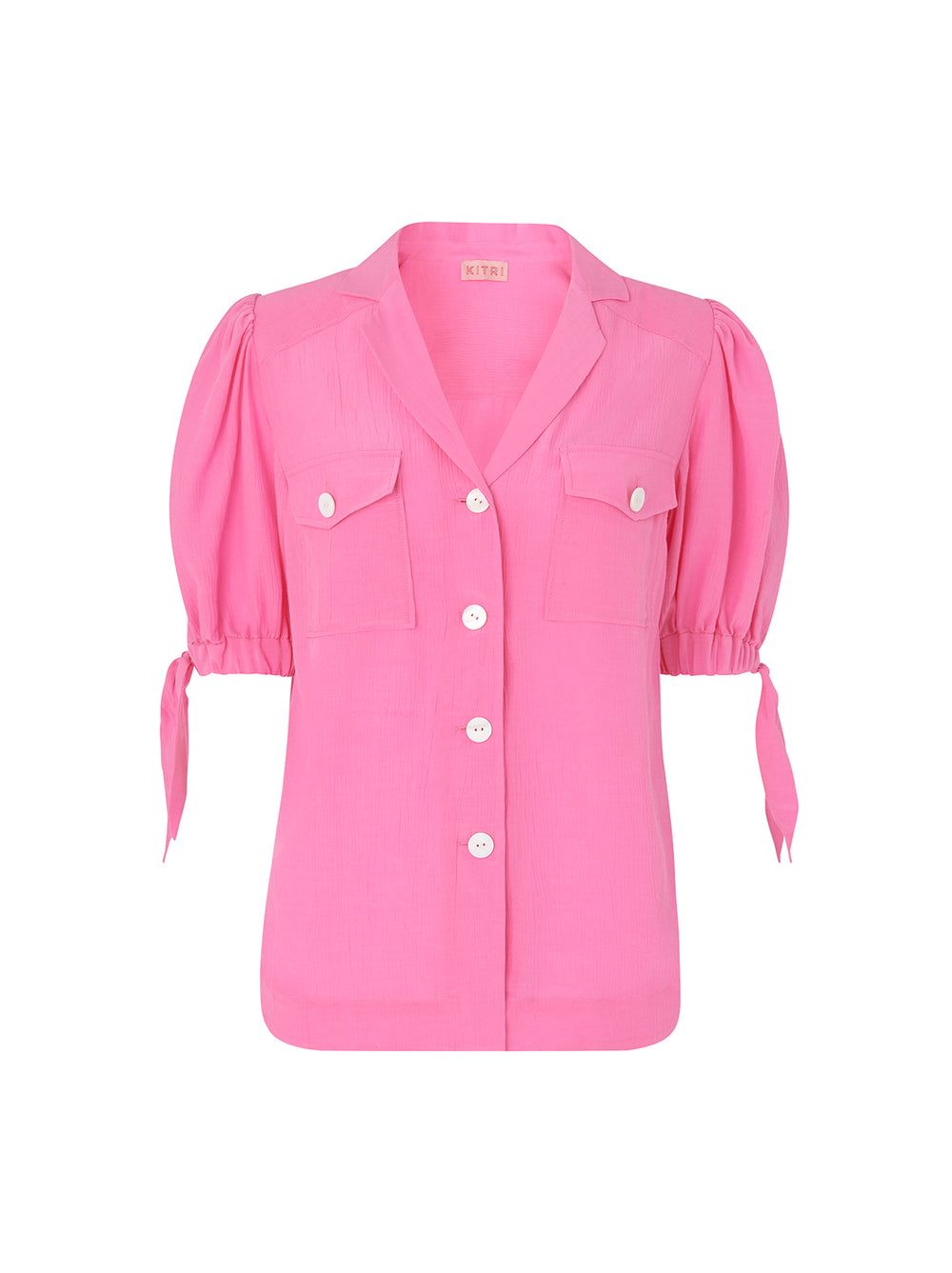 Ramona Pink Tie Sleeve Shirt by KITRI Studio