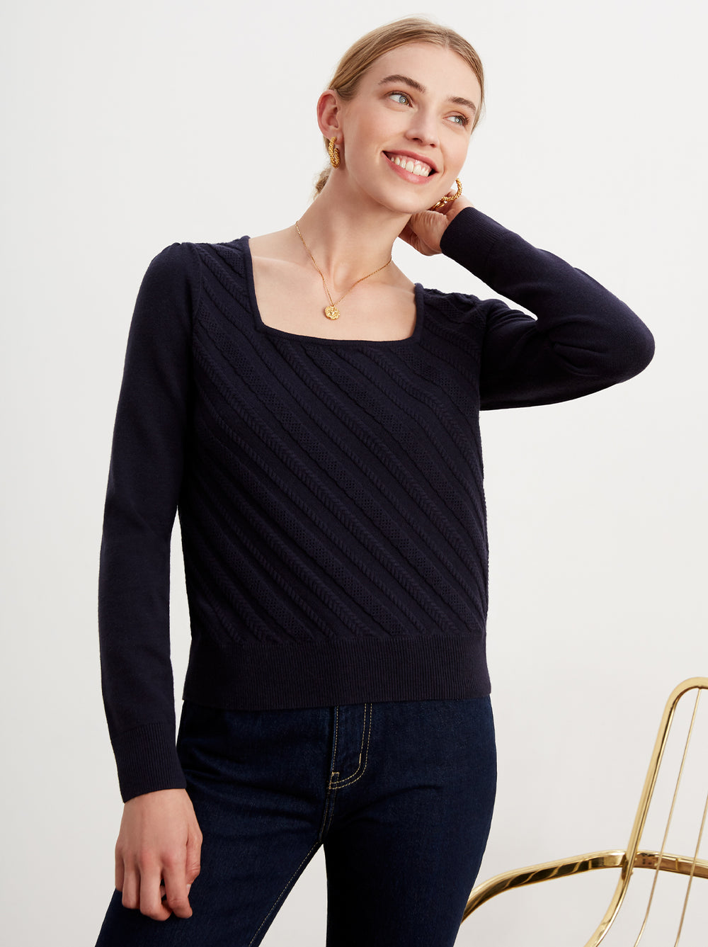 Raven Navy Cable Knit Jumper by KITRI Studio