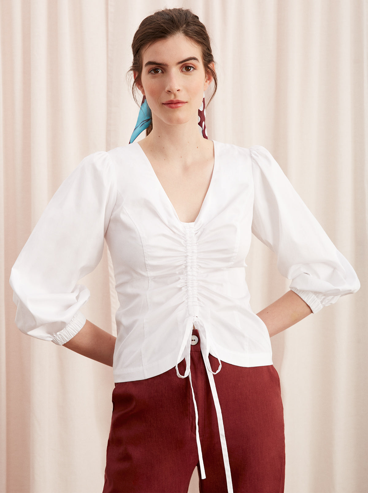 Riley White Cotton Statement Sleeve Shirt by KITRI Studio