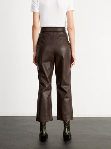Roberta Brown Faux Leather Trousers by KITRI Studio