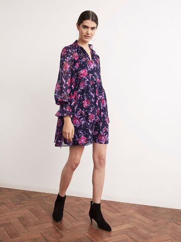 Robyn Purple Floral Print Vintage Babydoll Dress by KITRI Studio
