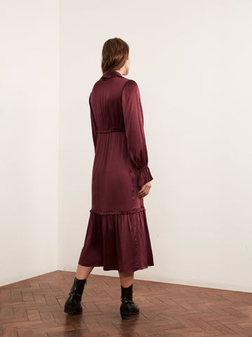 Romily Burgundy Silk Blend Frill Front Midi Dress by KITRI Studio