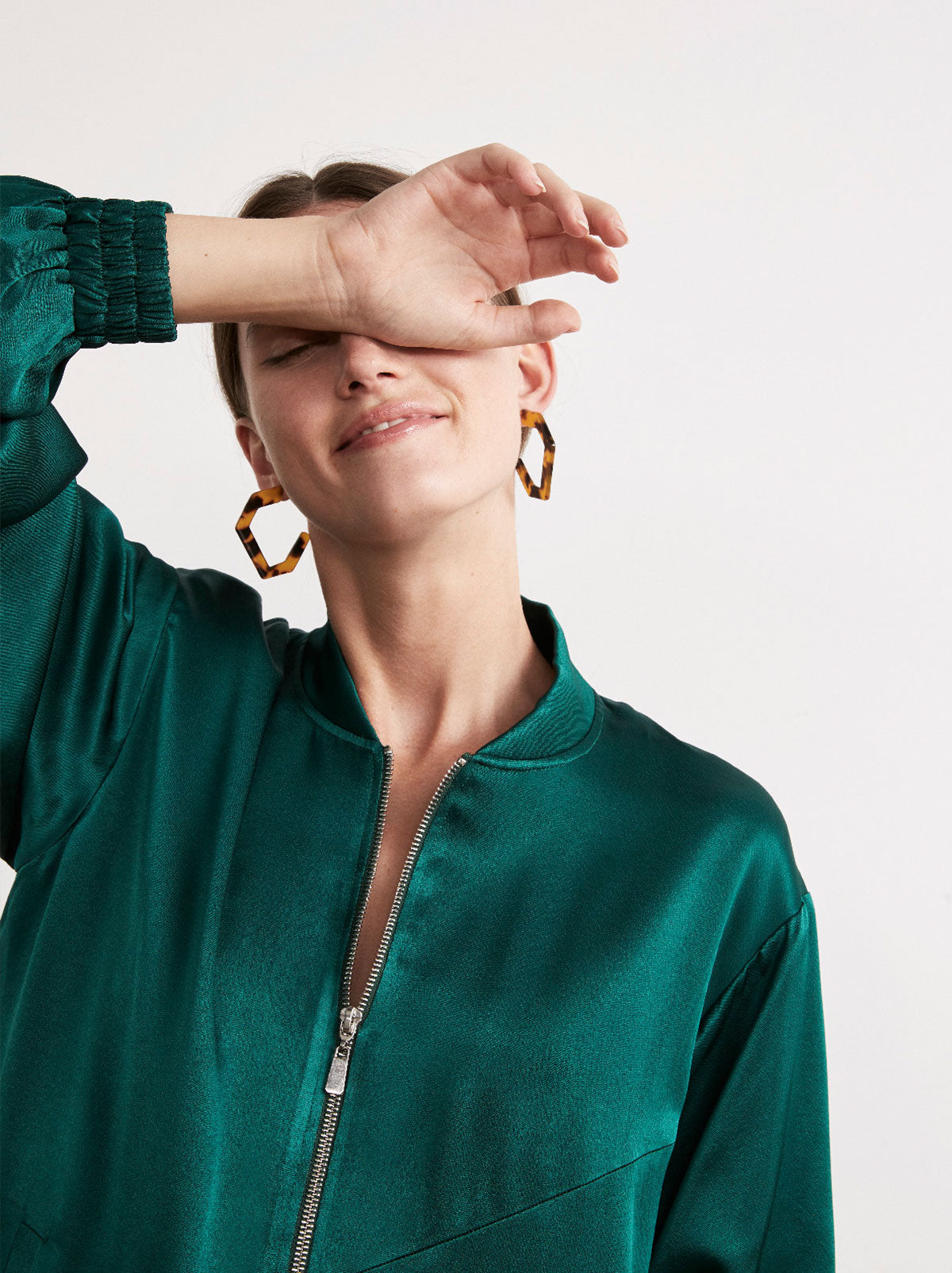 Rowan Green Satin Oversized Bomber Jacket by KITRI Studio