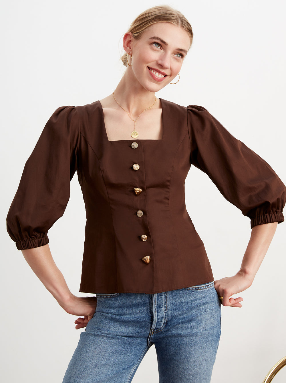 Ruby Chocolate Cotton Volume Sleeve Shirt by KITRI Studio