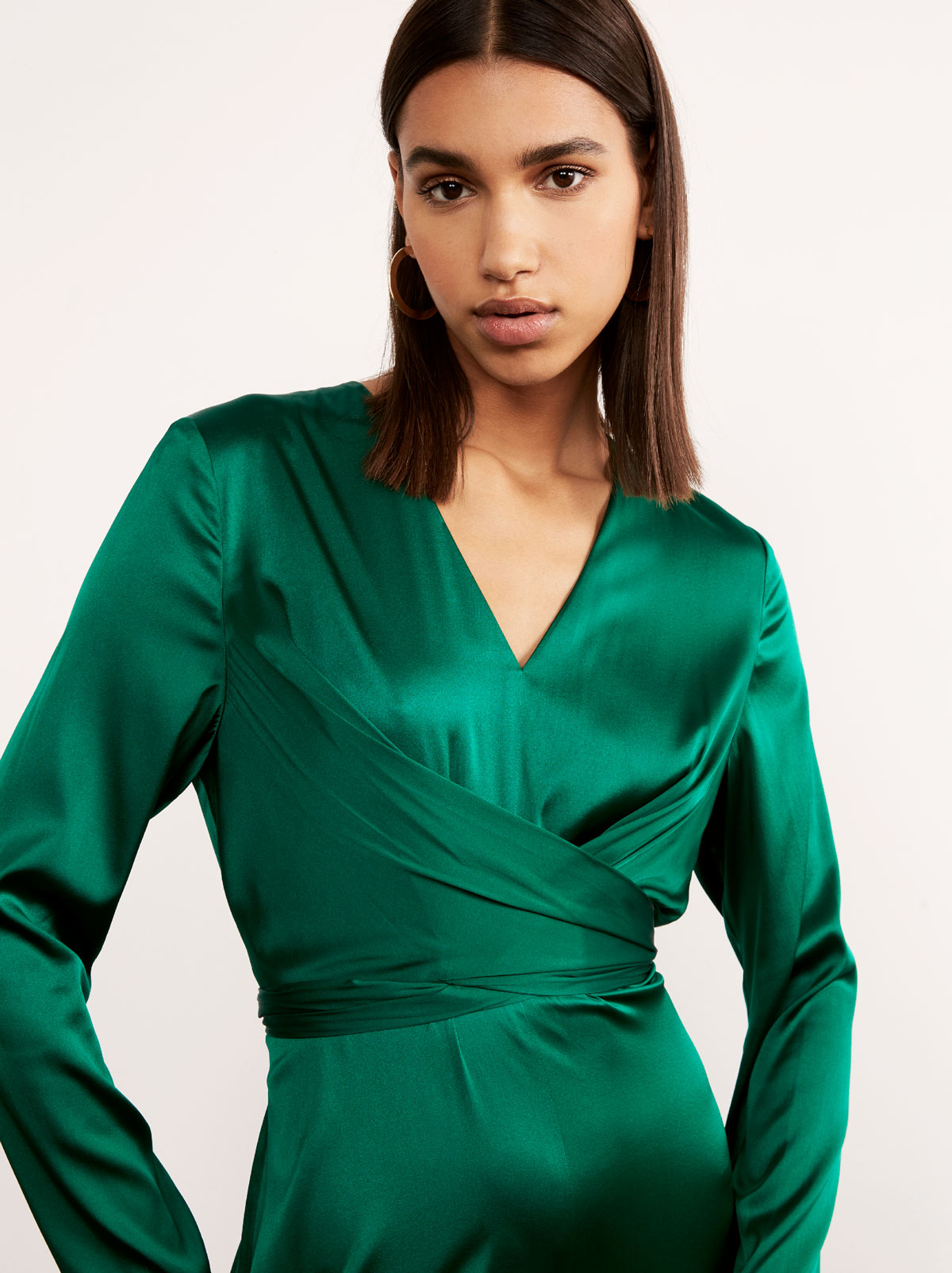 Sadie Green Silk Wrap Dress by KITRI Studio