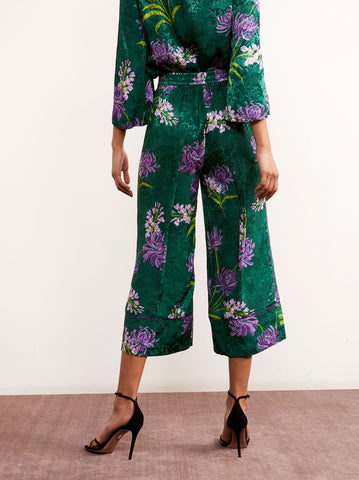 Seema Green Floral Print Culotte PJ Trousers by KITRI Studio