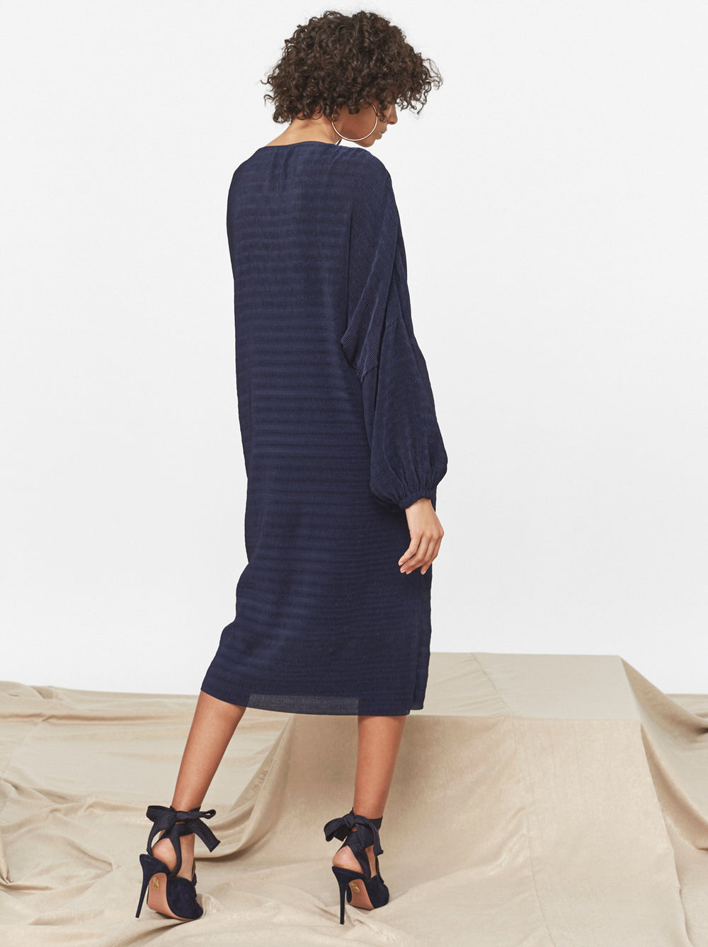 Suzanne Navy Plisse Dress by KITRI Studio