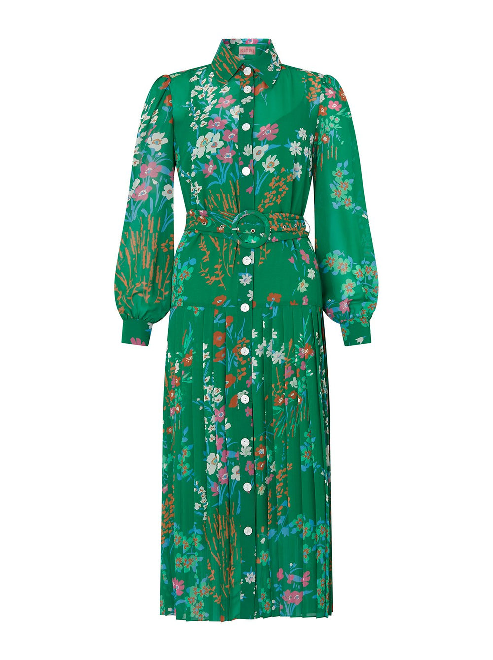 Tara Green Floral Print Shirt Dress by KITRI Studio