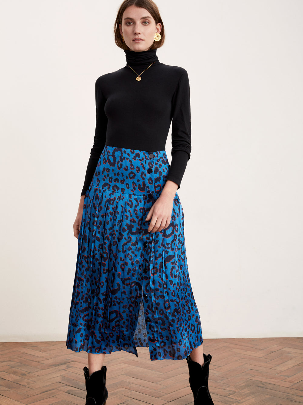 Tina Animal Print Pleated Midi Skirt by KITRI Studio